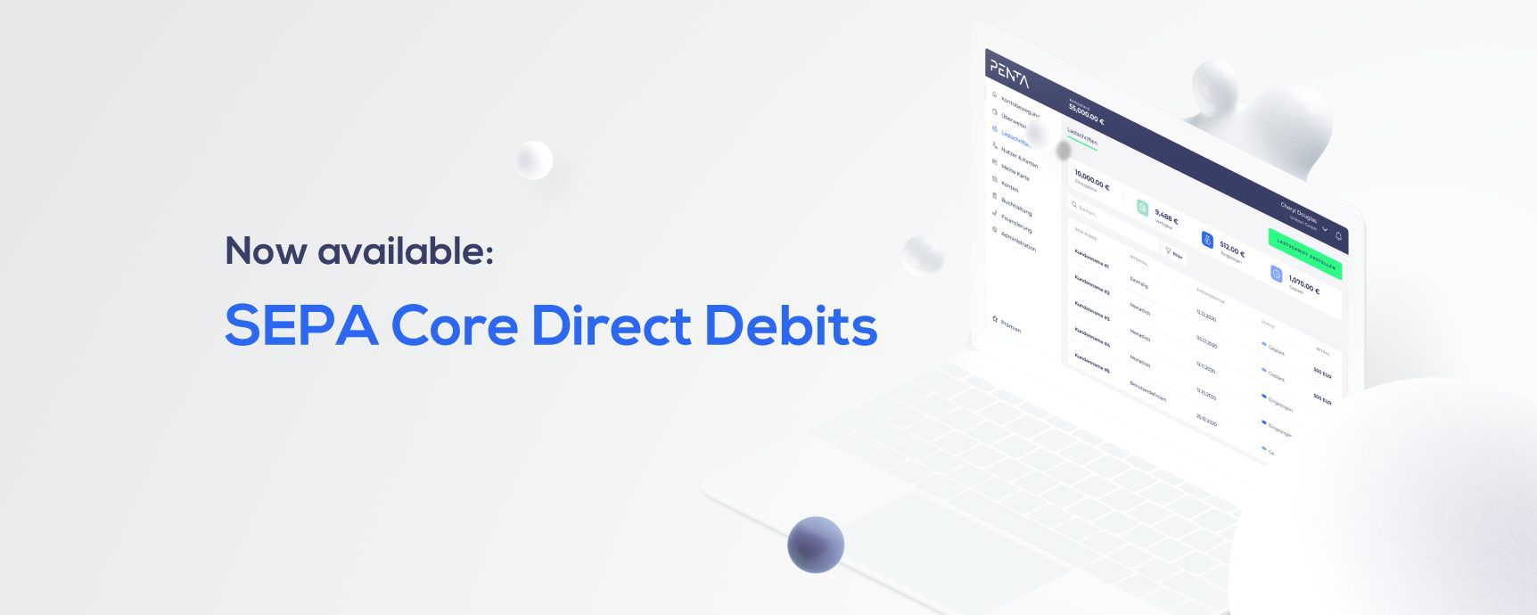 Now available SEPA Core Direct Debits with Penta